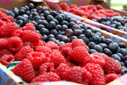 Fresh raspberries and blueberries
