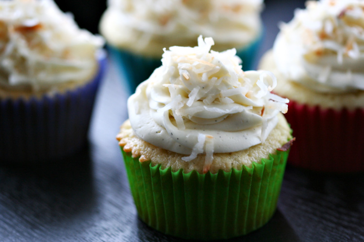 Vanilla Bean Coconut Cupcakes | Amandeleine