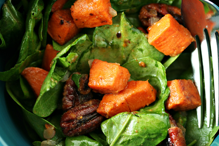 Warm Spinach Salad with Smokey Pecans and Sweet Potato ...